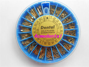 1 Box Of New Brand Dental Assorted Conical Gold Plated Screw Posts 240 Posts box