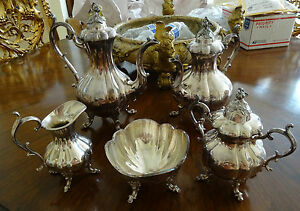 Five 5 Piece Reed And Barton Silver Plated Winthrop Pattern Tea Service