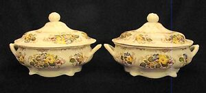 Pair Of Ironstone Transfer Ridgway Brown Transfer Apple Blossom Round Tureens