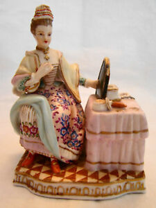Dresden Helena Wolfsohn Figurine Lady At Dressing Table Figure Statue 19thc