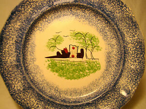 Spatterware Blue Green Spatter Castle Or Fort Plate 7 5 8 Dia C 19th Century