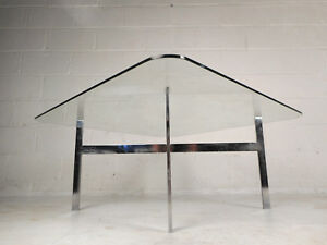 Impressive Mid Century Modern Chrome And Glass Coffee Table 9269 Nj