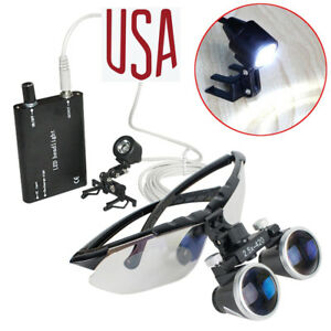 2 5x Dental Surgical Binocular Loupes 2 5x420mm Magnifier Clip Head Light Lamp