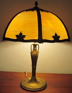 Arts Crafts Miller Table Lamp With Caramel Colored 6 Panel Filigree Shade