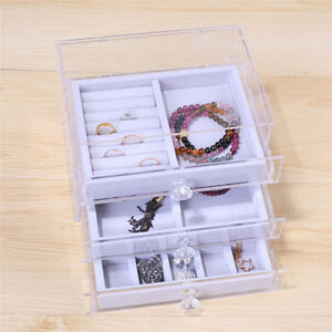 Multi function 3 Layer Dust Proof Jewelry Storage Box Necklace Ring Storage Case