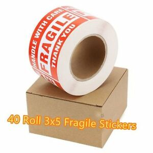 40 Roll 500 roll 3x5 Fragile Stickers Handle With Care Thank You Shipping Labels