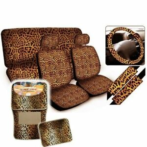 Bdk Seat Covers Floor Mats Leopard Print Auto Accessories Beige