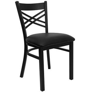 New Wholesale Price Commercial Restaurant X Back Black Metal Chairs 16pcs lot