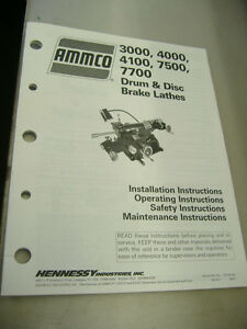 Ammco 3000 4000 4100 7500 7700 Drum Disc Brake Lathes Operating Instructions