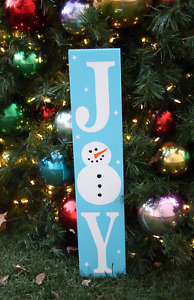 Large Primitive Wooden Sign Joy Snowman Rustic Holiday Christmas Winter Porch