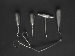 Vintage Set Kit Of 5 Stainless Medical Destist Dental Tool Clinic Exolever