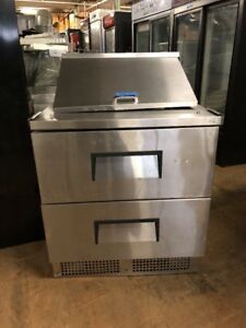 True Tfp 32 12m d 2 32 Commercial Sandwich Prep Table Cooler Used With 2 Drawer