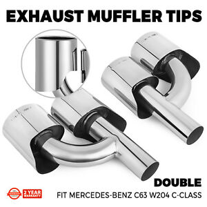 Real Quad Oval Exhaust Pipe Tips Muffler For Mercedes Benz W204 C63 Set