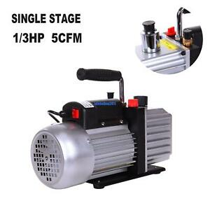 5cfm Rotary Vane Vacuum Pump Single Stage Hvac 1 3hp Air Conditioning A c Deep
