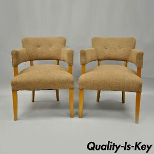 Pair Mid Century Modern Maple Club Lounge Chairs Jens Risom Heywood Wakefield