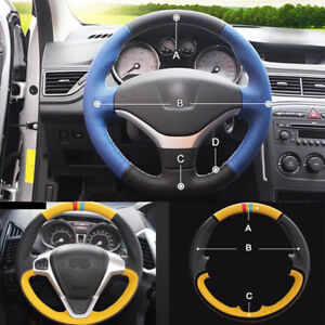 Custom Made Pu Leather Steering Wheel Cover Stitch On Wrap For Peugeot 308 12 13