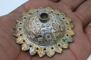 Islamic Mughal Hand Engraved Coppergold Gilt Dhal Shield Bosses Original Vintage