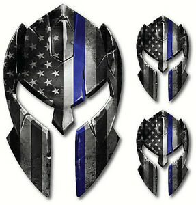 3x Spartan Helmet Police American Flag Thin Blue Line Decal Sticker Truck Window