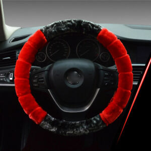 1 Pcs Set Soft Steering Wheel Cover Fuzzy Wool Plush Car Winter Warmer 38cm Red