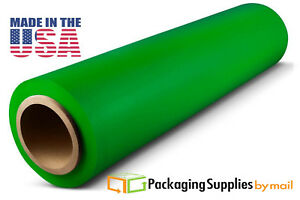 Hand Stretch Film 18 X 1500 Green Shrink Plastic Wrap For Moving 80 Ga 28 Rls