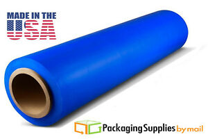 Hand Stretch Film 18 X 1500 Blue Shrink Plastic Wrap For Moving 80 Ga 28 Rolls
