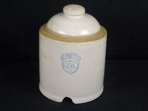 Antique Vintage Uhl Pottery Chicken Waterer Feeder Stoneware Farm Advertising