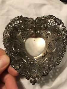 Antique Gorham Sterling Silver Pierced Heart Shaped Nut Candy Dish