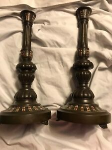 Antique Rare Early Pair Of Bronze French Champleve Enameled Candlesticks