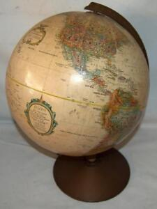 Tan Vintage Replogle 12 Raised Relief Earth Globe World Series Metal Base Ss2