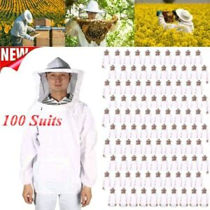 100pack Beekeeping Protective Jacket Veil Dress Suit Pull Hat Smock Equipment To