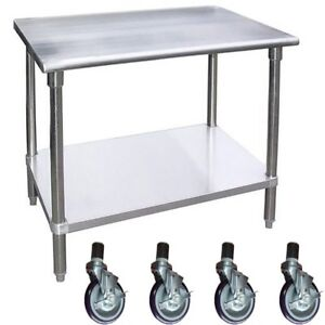 Work Table With 4 Casters Wheels Stainless Steel Food Prep Worktable 18 X 36