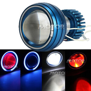 Hid Bi xenon Motorcycle Headlight Projector Lens Blue Angel Red Devil Led Light