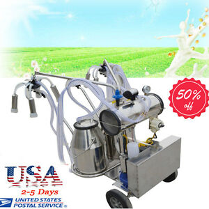 Usa Portable Double Tank Milker Electric Vacuum Pump Milking Machine For Cows