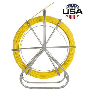 130m 425ft Fish Tape 6mm Fiberglass Wire Cable Running Rod Duct Rodder Puller Us