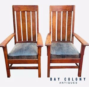 Pair Of Antique Arts Crafts Mission Oak Library Billiards Arm Chairs
