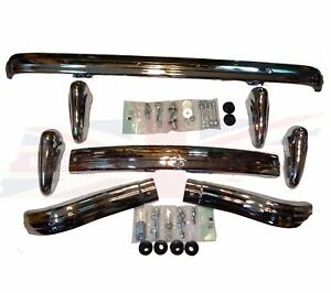 Brand New Mg Mga Front Rear Bumper 4 Overriders Plus Hardware 1955 1962