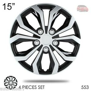 For Honda New 15 Hubcaps Spyder Performance Black And Silver Wheel Covers 553