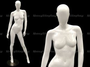 Female Fiberglass Glossy White Mannequin Egg Head Roxy Display mz oziw3