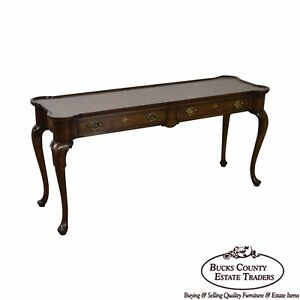 Hekman Burl Wood Queen Anne 2 Drawer Console Table