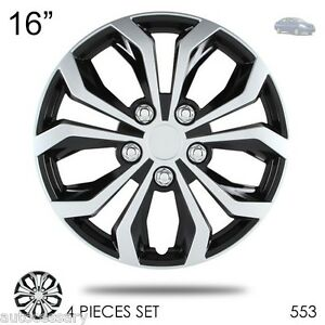 For Nissan New 16 Hubcaps Spyder Performance Black And Silver Wheel Covers 553