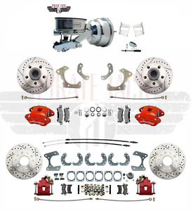 1958 68 Chevy Impala Bel Air Front Rear Red Wilwood Disc Brake Kit Chrome Master