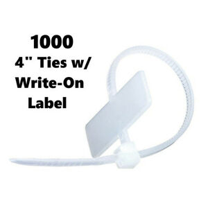 4 Cable Zip Ties With Write On Tag Label Labeled White Short 1000 Pack Act1005