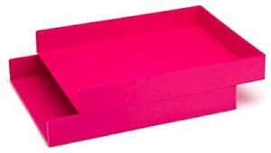 Poppin Stackable Inboxes Hot Pink Letter Trays