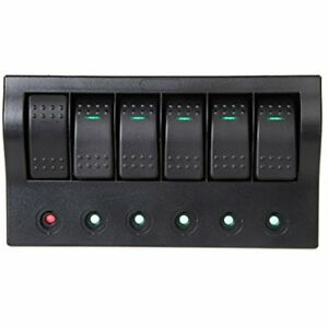 Marine Boat Rv 6 Gang Waterproof Rocker Switch Panel W Led Indicator Breakers