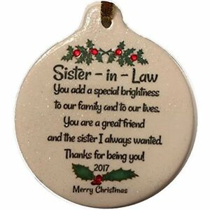 Sister In Law 2017 Porcelain Ornament Gift Boxed Rhinestone Love Friends Family