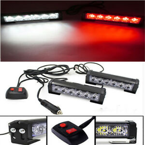 White Amber 12led Car Truck Grille Strobe Bar Flash Emergency Warning Light Lamp