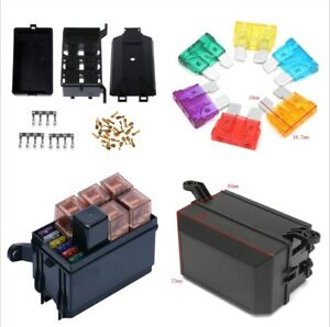 Black Relay Fuse Terminal With Fuse Box 6 Relay Block Holders 5 Road Set For Car