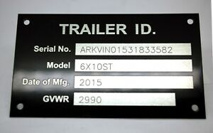 4 Line Aluminum Trailer Id Data Plate Tag Vin Plate Nameplate Engraved
