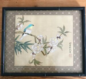 Fine Antique Chinese Bird Branch Cherry Blossom Painting Brushwork Silk Signed