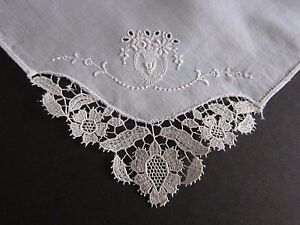 Antique White Never Used Belgium Duchesse Needle Point Lace Hanky Handkerchief